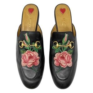 Gucci Black Princetown Flower Embroidered Mules